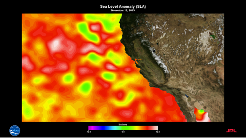 Red showing high sea levels in So Cal