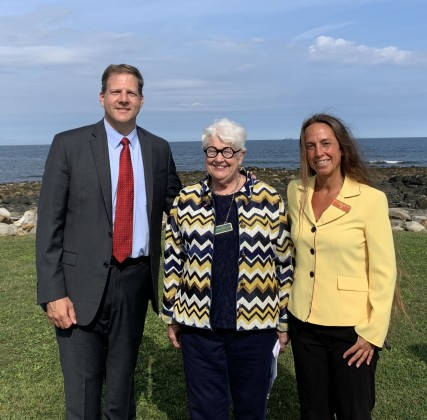 New Hampshire Governor Sununu, Senator Fuller Clark and Surfrider Northeast Manager Melissa Gates at the bill signing for SB76