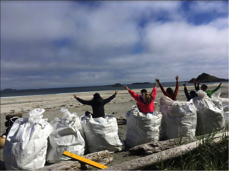 Surfrider Pacific Rim Volunteers removing Hanjin debris from Vargas Island, Clayouot Sound